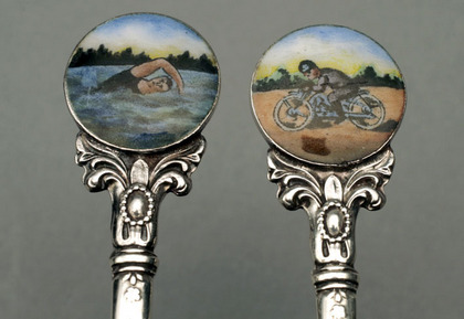 Silver and Enamel Teaspoon set (6) - Swimming and Motorcycling