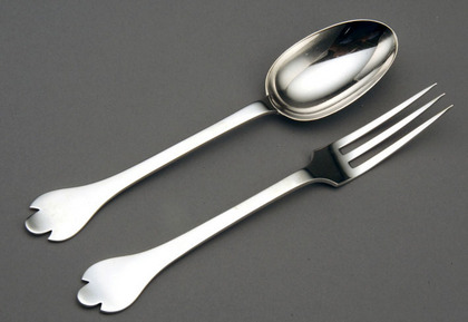 Silver Rattail Trefid Spoon and Fork Set - Christening present