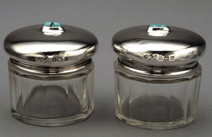 Liberty Cymric Silver and Glass Rouge Pots