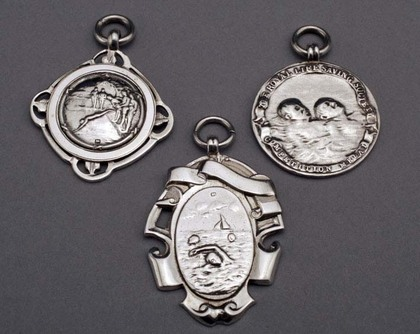 Lifesaving and Swimming Silver Fob Medallions - Set of 3