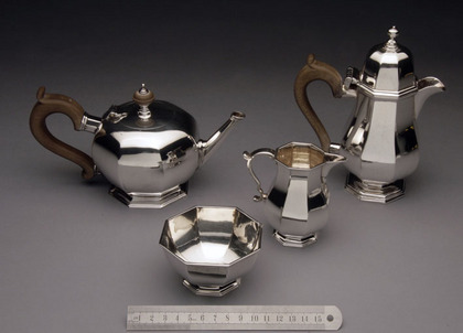 Antique Silver Octagonal Tea & Coffee Set (4 piece Bachelor)