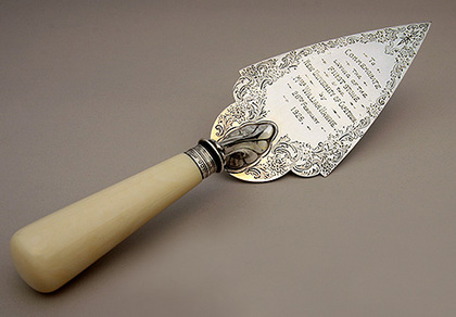 Antique Silver Commemorative Ceremonial Trowel - UCT (University of Cape Town) Foundation Stone - William Hawke