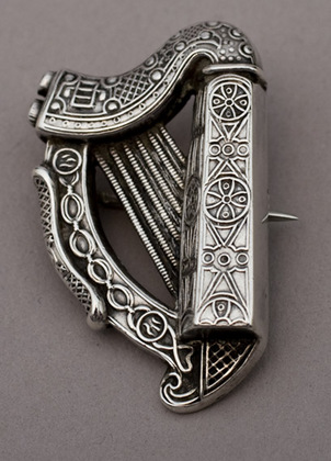 Antique Irish Silver Harp Brooch