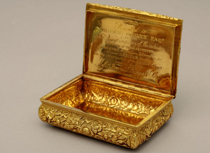 Antique Silver Gilt Snuff Box - Thomas Shaw, Thomas Ogilvy, Francis Philips