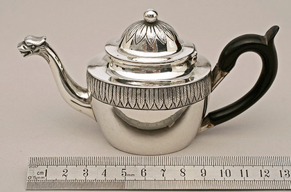 Miniature Continental Silver Teapot - Birds Head Spout