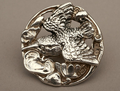 Art Nouveau Silver Cast Buttons (Set of 6) - Kingfisher