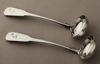Scottish Provincial Silver Toddy Ladles (pair) - Dundee - Brodie Family Crest
