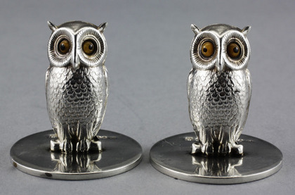 Sampson Mordan Silver Owl Menu Holders (pair)