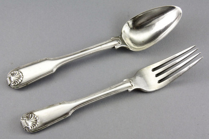 Chinese Export Silver Dessert Spoon and Fork - Canton