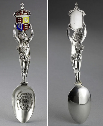 Canadian Antique Silver Indian Spoon - Brandon College, Manitoba