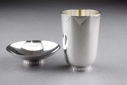 Georg Jensen Sterling Silver Dish and Cup - Sigvard Bernadotte
