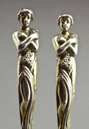 Victorian Silver Gilt Goddess Spoons (Pair)