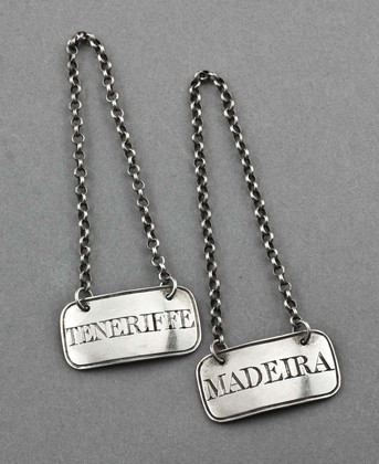 Antique Silver Georgian Wine Labels (Pair) - Madeira, Teneriffe
