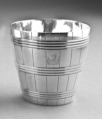 Bateman Silver Barrel Shaped Beakers (Pair) - Ducal Crest, Dalton, Draycott, Codrington