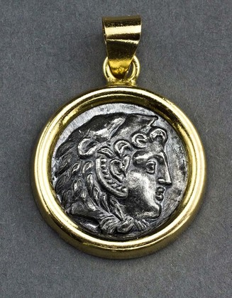Alexander the Great Greek Silver Coin Pendant in 14 Carat Gold Bezel - Drachm, Amphipolis, 336-323 BC