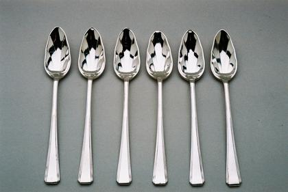 Silver Art Deco grape fruit spoons (6)