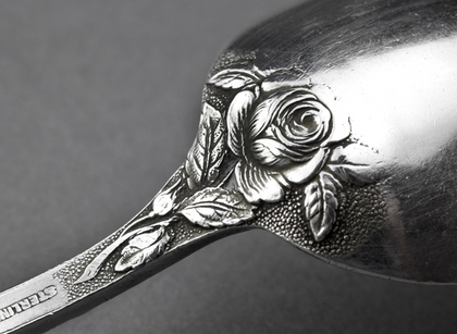 Sterling Silver Baltimore Rose Tablespoon - Schofield & Co, Christening Spoon