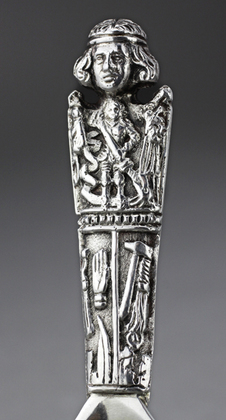 Antique Danish Silver Christening Spoon - St Olaf, Madonna
