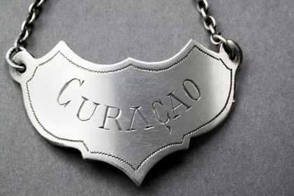 Swedish (or French) Antique Silver Wine Label - Curacao