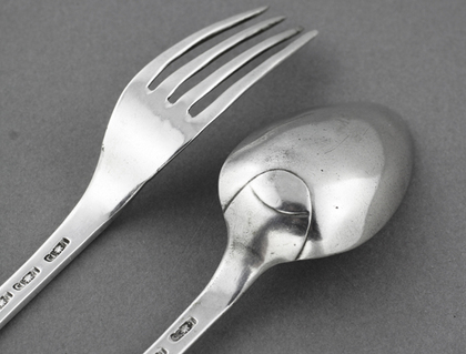 Colonial Silver Spoon and Fork (Christening set) - Madagascar