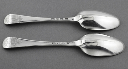 Rat Tail Hanoverian Tablespoons (Pair) - Ridge and Brooke Family Armorial