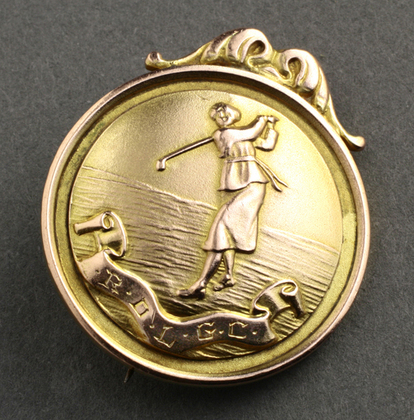 9 Carat Gold Lady Golfer Medallion/ Brooch -