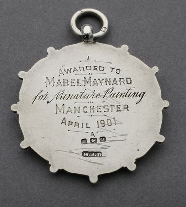 British Arts & Crafts Silver Medallion/Pendant - Manchester 1901, Miniature Painting, Mabel Maynard