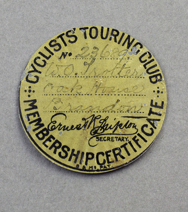 Cyclists Touring Club Victorian Silver Membership Certificate Holder/ Pendant, and Enamel Certificate for 1899
