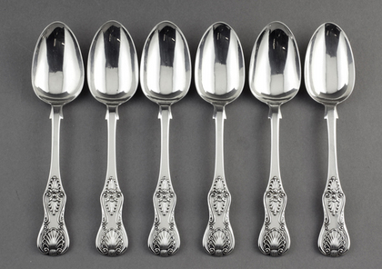 Newcastle Antique Silver Kings Pattern Teaspoons (Set of 6) - Thomas Sewell I