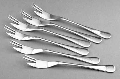Sterling Silver Shellfish Forks (Set of 6) - T S Cuthbert Glasgow
