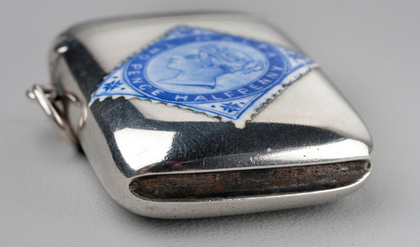 Victorian Silver and Enamel Malta Blue Stamp Vesta Case - Twopence Halfpenny