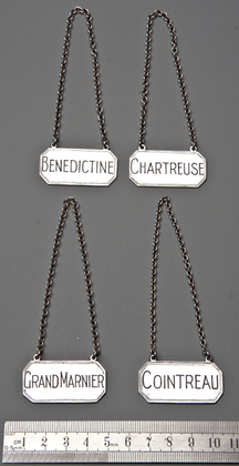 French Liqueur Sterling Silver Wine Labels (Set of 4) - Benedictine, Chartreuse, Cointreau, Grand Marnier