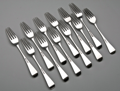 Antique York Silver Tableforks (set of 12) - Hampston & Prince