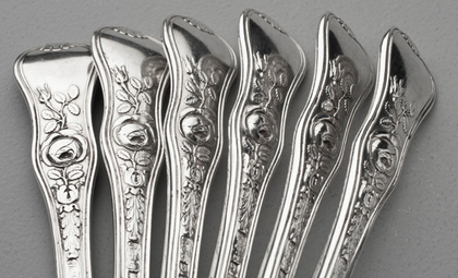 Victorian Silver Rose Pattern Teaspoons (Set of 6)