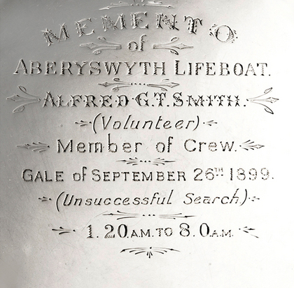 Commemorative Silver Salver - Aberyswyth Lifeboat, Alfred Smith, Gale September 26th 1899