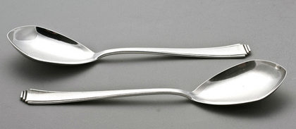 Art Deco German Silver Serving Spoons (Pair) - Lutz & Weiss