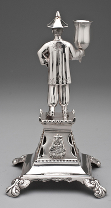 Portuguese Antique Silver Toothpick Holder - Porto, Chinese Figure