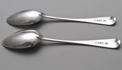 Georgian Silver Tablespoons (Pair) - Leopards Head Crest, Cusped Duty 1797