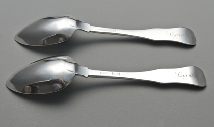 Baltimore Coin Silver Tablespoons (Pair) - Samuel Kirk, Baltimore Assay Marks