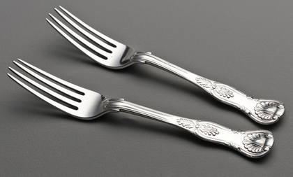 Cape Silver Kings Pattern Dessert Forks (Pair) - Waldek