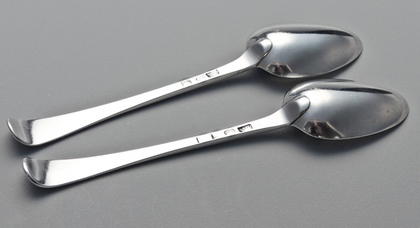 Old English Feather Edge & Cartouche Silver Tablespoons (Pair) - Nalder Family Crest