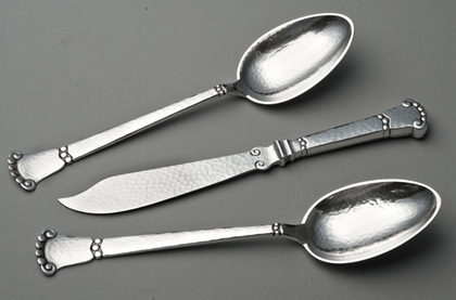 Danish Silver Martele Tablespoons (Pair) and Cheese Knife