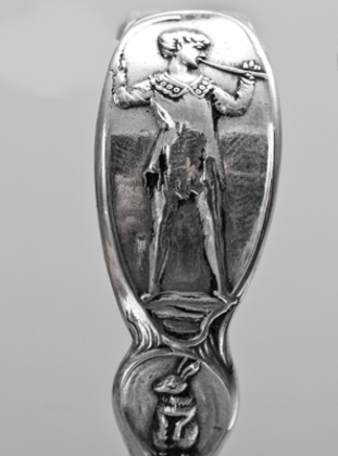 Antique Silver Christening Spoon - Captain Hook, Peter Pan