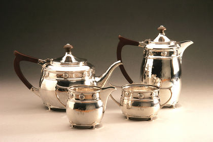 Arts and Crafts Silver tea service (A.E. Jones)