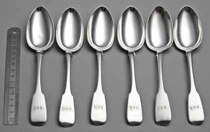 Irish Silver Rat Tail Dessert Spoons (Set of 6) - James Brady, Dublin, Neill, Belfast