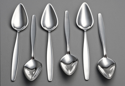Georg Jensen Sterling Silver Cypress Pattern Fruit Spoons Triangular (Set of 6) - Grapefruit Spoons