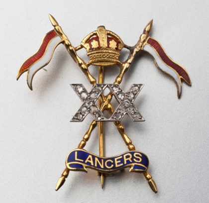 20th Lancers Gold and Diamond Sweetheart Brooch