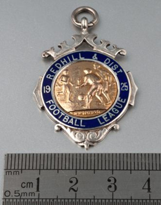 Redhill & District Football League 1925 Gold and Silver Fob Medallion