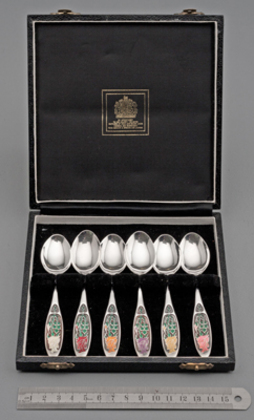 Year of the Rose Silver & Enamel Spoon Set (6) - Royal National Rose Society