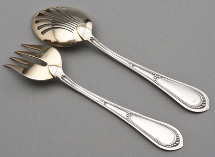 Antique Swiss Silver Pickle/ Preserve Spoon and Fork - Leuenberger, Antiker Silber Besteck